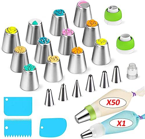 Boquillas Rusas de Repostería - Set Decoración de Cupcakes y Tartas (75pcs): 18 Boquillas + 50 Mangas Pasteleras Desechables + Bolsa Silicona Reutilizable + 3 Adaptadores + Accesorios (Set1)