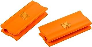 BRA Efficient - Asas de Silicona, 2 Unidades, Medida Plancha asador Liso, para Efficient con diámetro de 35-45 cm, Color Naranja