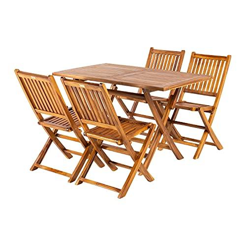 Edenjardi Conjunto jardín de Teca, Mesa Rectangular 120 cm y 4 sillas Plegables, Madera Teca Grado A, Tratamiento al Agua aplicado