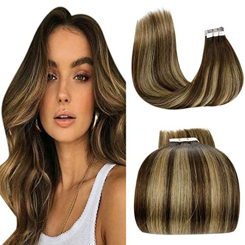 Bande Adhesive Extension Ombre Marron, LaaVoo Extension Adhesive Tie And Dye Marron Foncé Ombre A Blonde Fraise Balayage Extension Cheveux Adhesive Skin Weft 2,5g/pc 20Pièces/50G 20Pouce