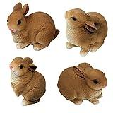Set da 4 di figure in poliresina di 1PLUS figure da giardino, coniglietto, dipinto a mano,...