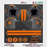 SUPERSTICKI Helm Aufkleber Set 8 orange Racing Streifen Motorrad Bike Motorcycle Aufkleber Bike Auto...