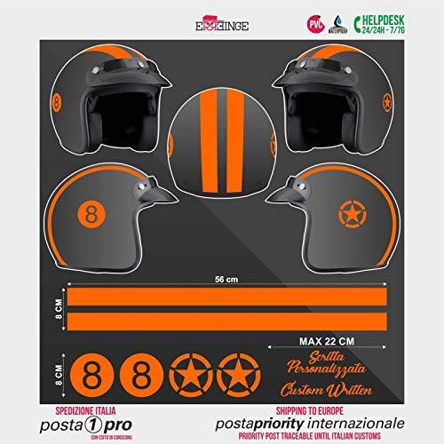 SUPERSTICKI Helm Aufkleber Set 8 orange Racing Streifen Motorrad Bike Motorcycle Aufkleber Bike Auto Racing Tuning aus Hochleistungsfolie Aufkleber Autoaufkleber Tuningaufkleber Hochleistun