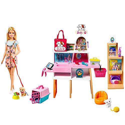 Barbie GRG90 - Puppe und Haustiersalon-Spielset mit 4 Haustieren, Farbwechsel-Fellpflegefunktion und Zubehör, tolles Geschenk für Kinder von 3 bis 7 Jahren
