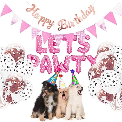 Haokaini Lets PAWTY Decor for Dog Cat 23Pcs Set Party Decor Kits Balloons Birthday Banners Party product image