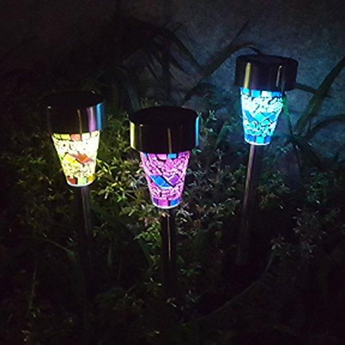 2er-Pack Mosaik Solar Lampe, Outdoor Edelstahl Led Solar Power dekorative Lichter Rasen Landschaft Weg Licht für Haustür, Hof, Garage, Terrasse, Garten, Deck