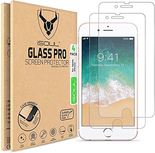 iSOUL [4 Stück] Displayschutzfolie für iPhone 7 / iPhone 8 4.7 Zoll [Anti-kratzen] 0.30mm Glasfolie 9H Härte HD klarer Schutz Schutzfolie [Blasenfrei] Panzerglasfolie