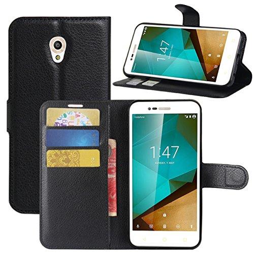 Vodafone Smart Prime 7 Hülle, HualuBro Premium PU Leder Leather Wallet Handyhülle Tasche Schutzhülle Hülle Flip Cover mit Karten Slot für Vodafone Smart Prime 7 Smartphone (Schwarz)