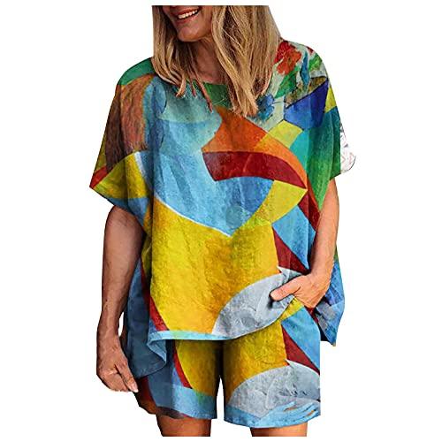 FOTBIMK FOTBIMK Summer Tops for Women Cotton Linen Loose Large Size Shirts Tops Cartoon Print Round Neck pullover Blue