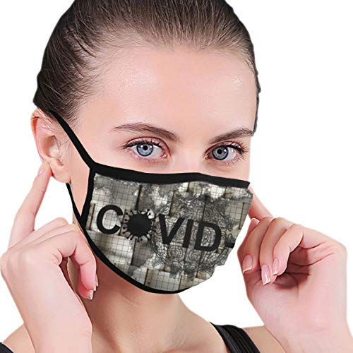 Design with Abstract Rendering Metal Covid Coronavirus Coronavirus Face Protection Reusable Bandana 2 Layers Fabric Head Scarf Washable Neck Gaiter Earloop Black