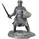 Toy Soldier. King Richard I of England, Richard The Lionheart with a Sword. Metal Sculpture. Collection 54mm (Scale 1/32) Miniature Figurine. Tin Toy Soldiers