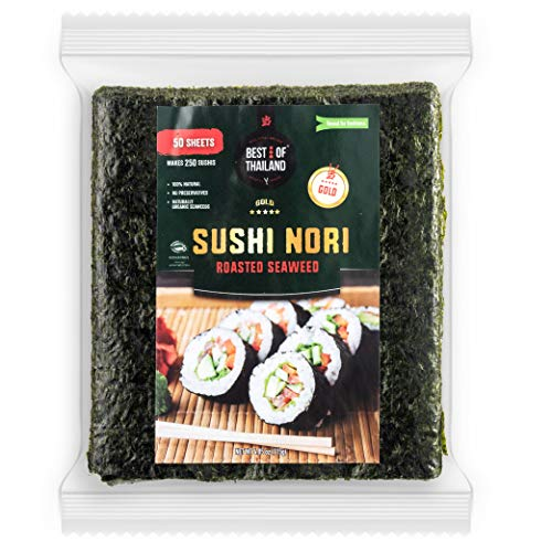Best of Thailand Organic Sushi Nori Seaweed Sheets | Premium Roasted Kosher Korean Seaweed | Resealable Bulk Bag 50 Full Nori Sheets for Sushi | Non-GMO Vegan Dried Seaweed | All-Natural Keto-Friendly