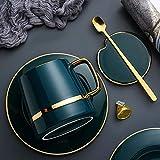HRDZ Taza con Tapa Cuchara Taza de cerámica Personalidad Creativa Tendencia hogar Gran Capacidad Pareja Taza de café