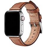 SUNFWR Leder Armband für Apple Watch Armband 44mm 40mm 38mm 42mm, Herren Damen Ersatz Original Lederband für iWatch Serie 6 5 4 3 2 1(42mm 44mm,Braun/Silber)