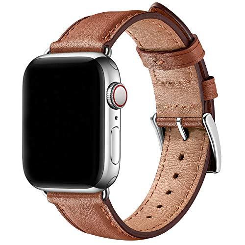 SUNFWR Leder Armband für Apple Watch Armband 44mm 40mm 38mm 42mm, Herren Damen Ersatz Original Lederband für iWatch Serie 6 5 4 3 2 1(38mm 40mm,Braun/Silber)