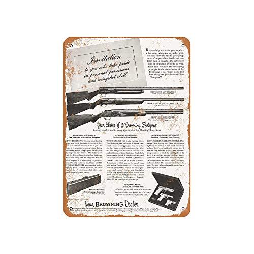 Fhdang Decor 1955 - Señal de aluminio con diseño vintage de escopetas de Browning, metal, multicolor, 12x18 inches