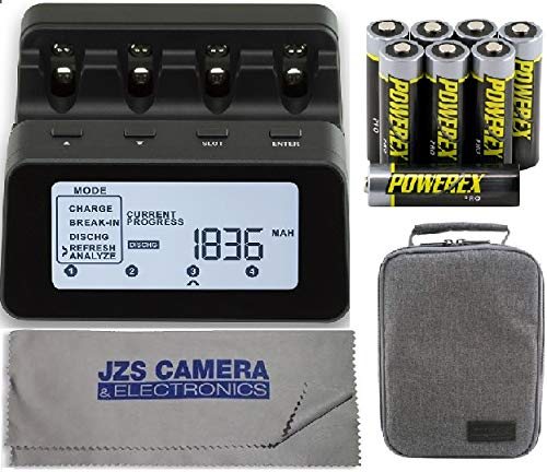 Powerex C9000PRO Professional Charger Analyzer with 8 AA 2700mAh Powerex PRO Rechargeable NiMH Batteries + Powerex Accessory Padded Bag & Cleaning Cloth