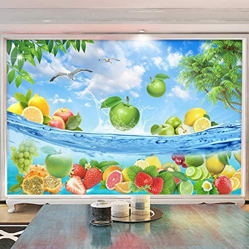 MUMUWUSG Fotomurales Efecto 3D Frutas Mar Frutas Frescas Tienda Restaurante Xxl Papel Pintado Tejido No Tejido Decoración De Pared Decorativos Murales Moderna De Diseno Fotográfico