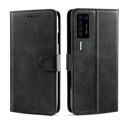 Hülle für Huawei P40 Pro Hülle, Premium Handyhülle Tasche Leder Flip Case Brieftasche Magnetischen Etui Schutzhülle für Huawei P40 Pro, Schwarz