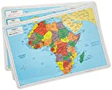 Painless Learning Educational Placemats Europe Asia and Africa Maps Set Non Slip Washable