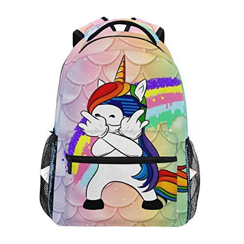 Mochila Escolar de Viaje con diseño de Unicornio y Escamas de Pescado