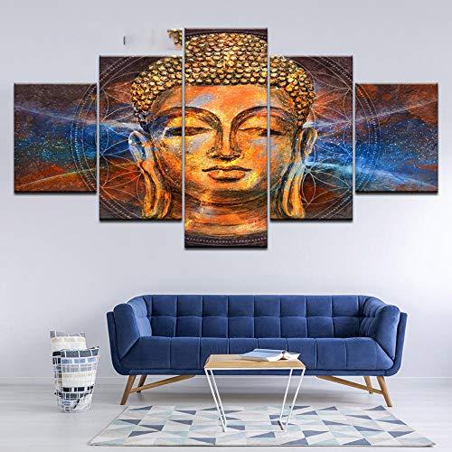 IGZAKER canvas schilderij gouden Boeddha met blauw licht 5 stuks Wall Art schilderij modulaire wallpapers poster print Home Decor-40x60 40x80 40x100cm geen frame