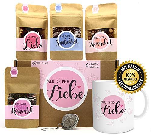 Weil ich Dich Liebe Tee Geschenk-Set mit 4 verschiedene Sorten & Tee-Ei und Tasse mit Namen personalisiert Geschenkidee Liebeserklärung