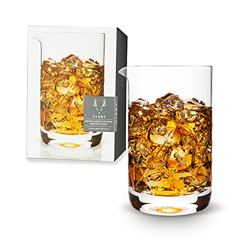 Viski Extra Large Faceted Mixing Glass, Lead-Free Crystal, Precision Pour Spout, 800 mL