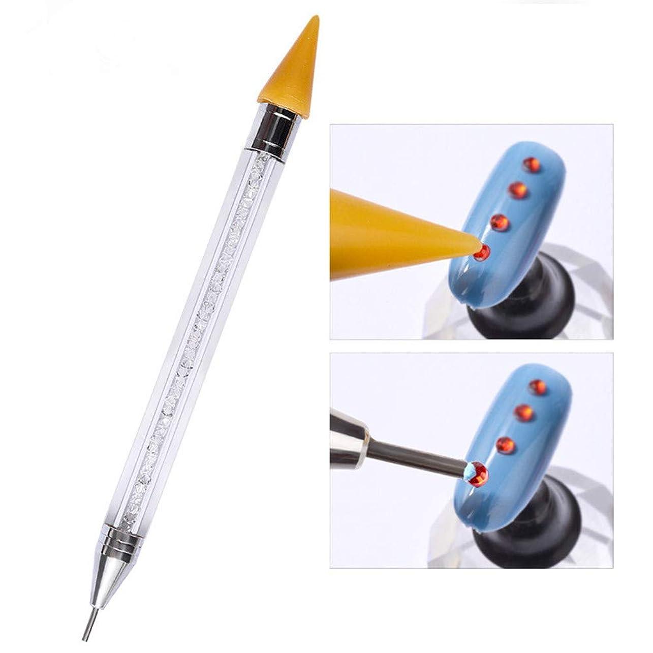 バイソンデュアル材料ネイルポイントドリルペン クレヨンとステンレス鋼ダブルヘッド可使用 ネイルアートツール 1本