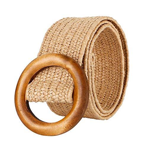 Cinturones de Cintura para Mujer, Cinturones de Cintura Elástico de Tejido de Paja Cinturón de Vestir con Hebilla de Madera, Retro Casual Salvaje Cinturón de Vestido Ajustable 103CM, 4.5cm de ancho