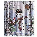 QYGA-3BU Feliz Navidad Cortinas de Ducha Muñeco de Nieve Jingle Bells Rústico Forest Theme Fabric Sets Decoración de baño con Ganchos 60x70 Pulgadas