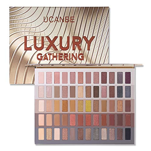 UCANBE Luxury Gathering Neutral Eyeshadow Makeup Palette, Naked Shimmer Matte Metallic Glitter Subtle Eyes Shadow,High Pigmented Nudes Creamy Smokey Pallet Set
