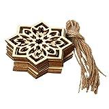 1 juego de colgante de madera Eid Mubarak Musulmán Festival de Madera Natural Copo de Nieve Colgante con Cuerdas Hueco Ramadán Decoración del Hogar Ornamento