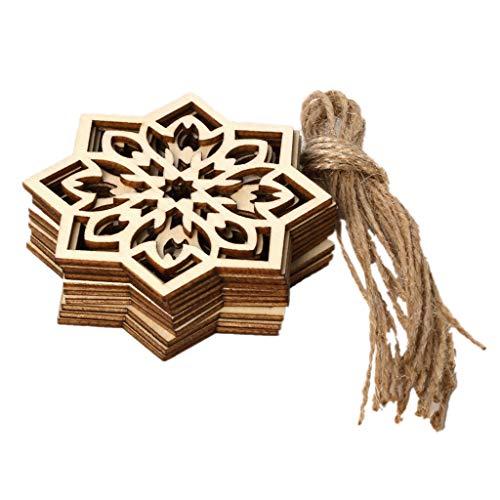 KunmniZ 1 Set Eid Wooden Pendant DIY Eid Mubarak Muslim Festival Natural Wood Snowflake Hanging With Ropes Hollow Ramadan Home Decoration Ornament