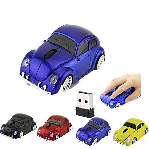Nieuwe Draadloze Kever Auto Muis Ergonomische Optische Muizen 2.4 Ghz Nano USB Ontvanger Cool LED Koplamp Ontwerp beste cadeau voor Teengage en Volwassene, ridder blauw