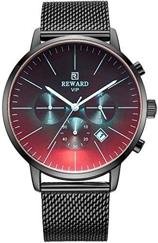 Herren-Armbanduhr mit Stahlgürtel, multifunktional, wasserdicht, Sport-Quarzuhr für Belohnung, Quarzuhr für Geburtstag/Hochzeit Geschenk