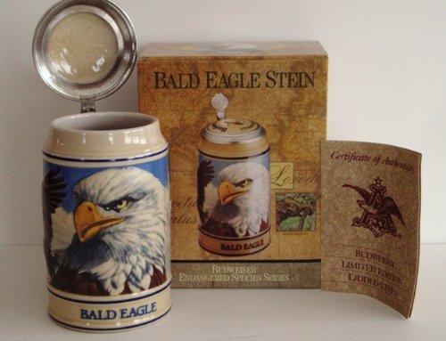 1989 Budweiser Endangered Species Series, Lidded Beer Stein, Bald Eagle