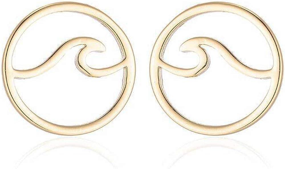 Stainless Steel Sea Ocean Wave Summer Holiday Stud Earrings