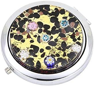 GlassOfVenice Millefiori Espejo compacto plegable de cristal de Murano - Oro Millefiori