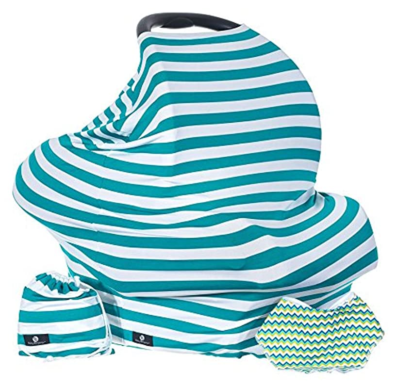 Baby Benjamin Car Seat and Nursing Cover with Bib and Drawstring Bag, Blue Aqua