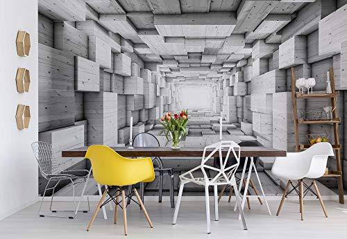 3D-Holz-Tunnel Optische Täuschung Schwarz Und Weiß Vlies Fototapete Fotomural - Wandbild - Tapete - 368cm x 254cm / 4 Teilig - Gedrückt auf 130gsm Vlies - 3248V8-3D