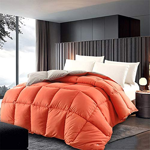 BEDSETS King Size 13.5 Tog - White Goose Feather & Down Duvet - 100% Cotton Anti Dust Mite & Down Proof Fabric - Box Stitched -Anti Allergen Winter Quilt (Orange,150x200cm4 kg)