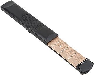 Honel ポケットギター 6フレット 練習用 初心者 指 トレーニング 練習用ガジェットツール コンパクト 小型 ミニギター 練習用ツール ギター 弦(ブラック)