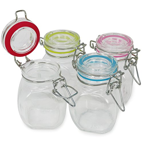 com-four® 4x mason jar con cierre de clip, vaso de alambre con anillo de goma en diferentes colores, 100 ml (04 piezas - 100 ml)