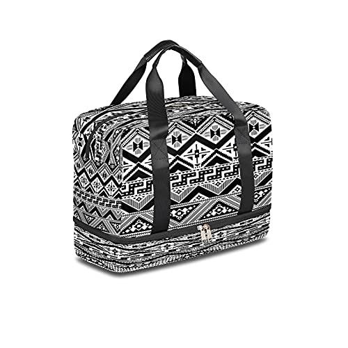 BOLOL Bolsa de viaje azteca africana mexicana azteca bolsa de deporte bolsa de gimnasio, tribal étnica Weekender bolsa de noche para hombres y mujeres