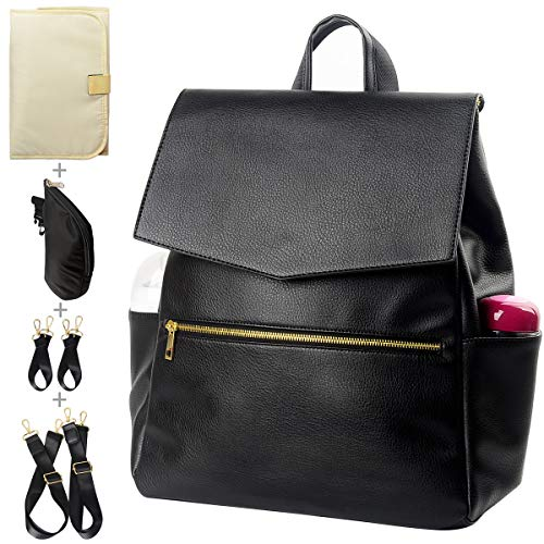 KZNI Leather Diaper Bag Backpack, Diaper Backpack Nappy Baby Bags for Mom Unisex Maternity Diaper Bag with Stroller Hanger|Thermal Pockets|Adjustable Shoulder Straps|Water Proof| LargeCapacity (Black)