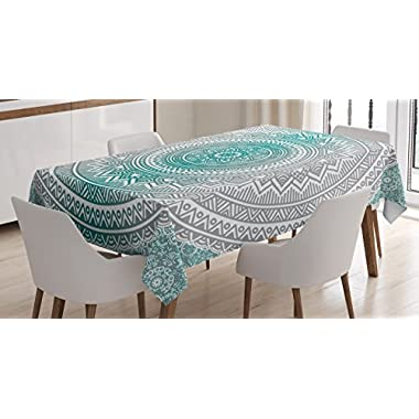 Grey and Teal Tablecloth by Ambesonne, Mandala Ombre Design Sacred Space Geometric Center Point Boho Meditation Art, Dining Room Kitchen Rectangular Table Cover, 52 W X 70 L Inches, Grey Teal