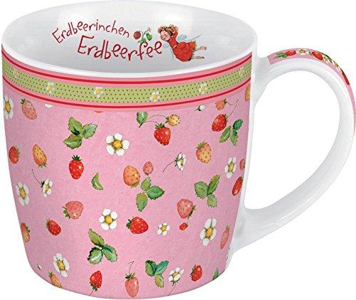Porzellantasse Erdbeerinchen. Motiv Allover: Erdbeerinchen Erdbeerfee. Edle Porzellantasse, farbig bedruckt, in hochwertiger Geschenkbox: