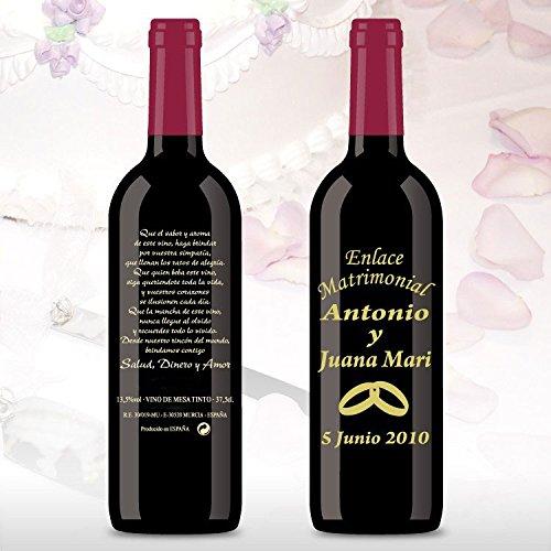50 Botellas de vino Tinto (3/8) decorada directamente sobre vidrio con dibujo de un par de alianza dorados para detalles de boda, personalizado con los nombres de los novios y las fechas