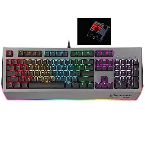 luoshan Teclado MOTOSPEED CK99 RGB mecánica 104 Teclas con luz de Fondo, Longitud: 1,6 m, Switch Cherry Red (Color : Color1)